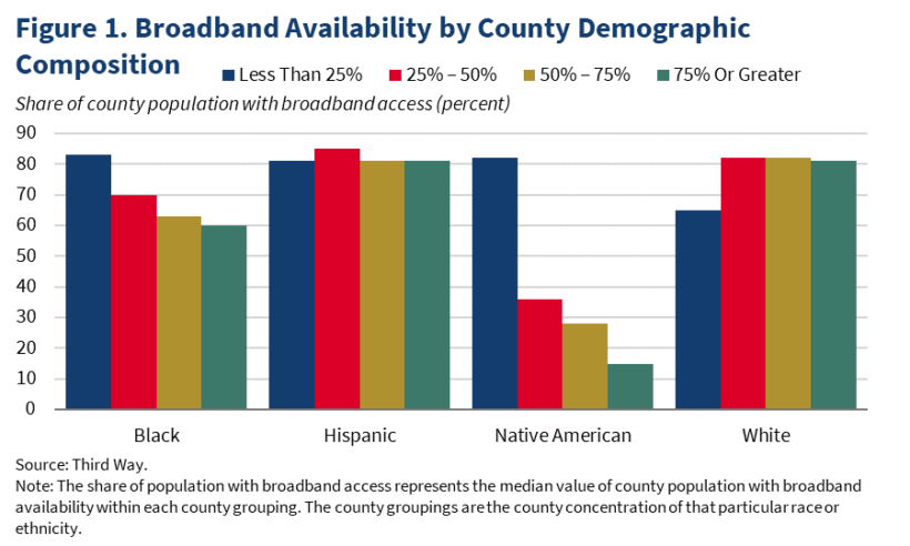 Chart for comparison of Internet access availability in communities: Black, Hispanic, Native American and White